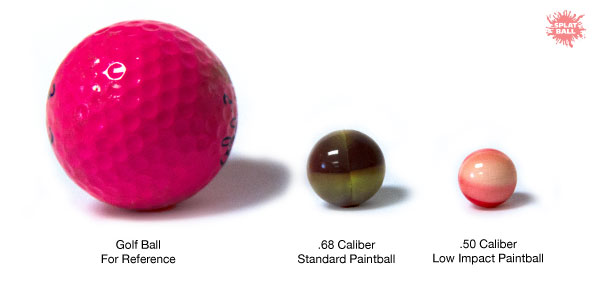 Low impact paintball comparison between a standard paintball, and golf ball for reference.