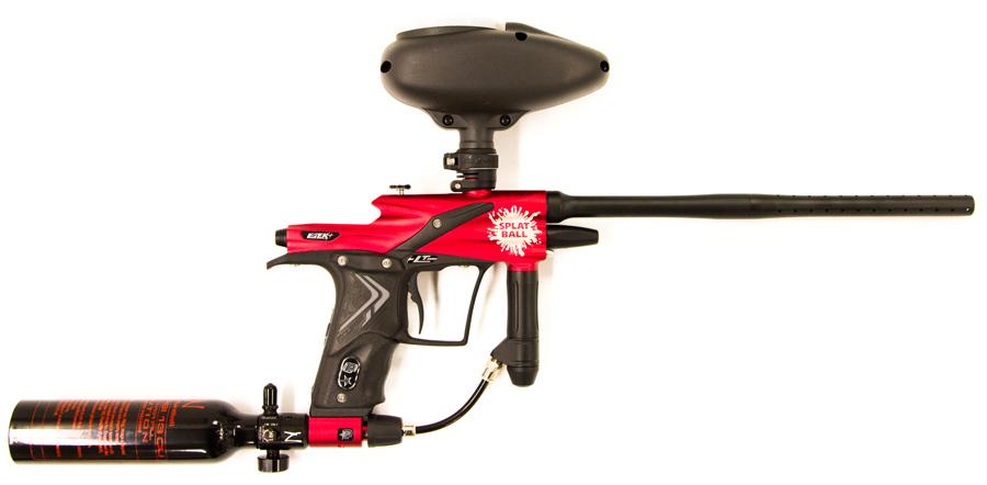 Splatball premium gun rental. Planet Eclipse ETEK 4LT Electronic marker with 3 round burst, and 400 rounder ammo loader.