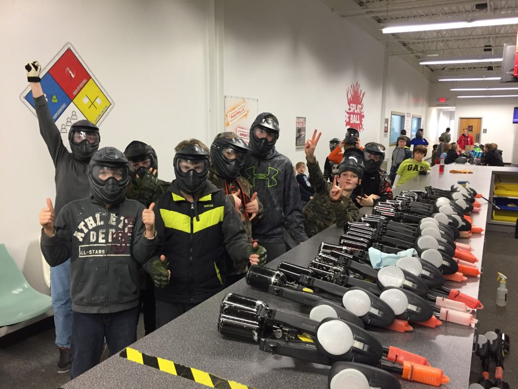 kids playing paintball