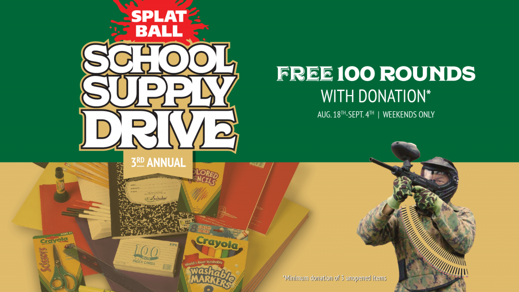 Splatball school supply drive